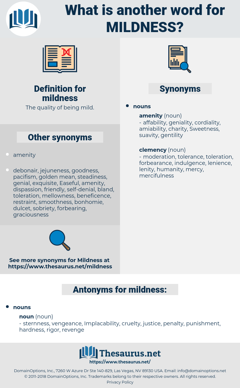 mildness, synonym mildness, another word for mildness, words like mildness, thesaurus mildness