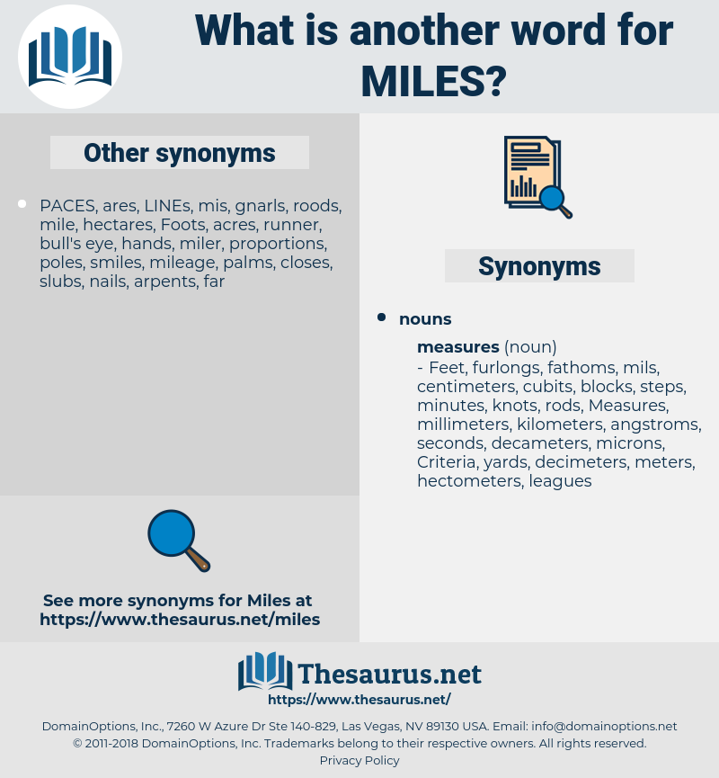 Miles, synonym Miles, another word for Miles, words like Miles, thesaurus Miles