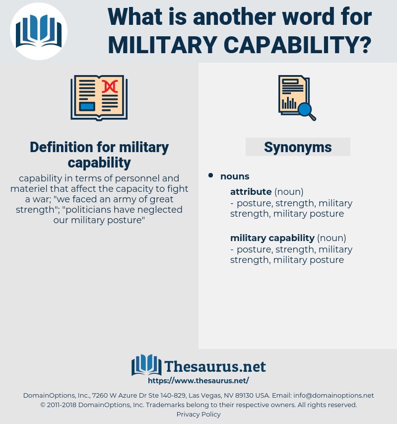 military capability, synonym military capability, another word for military capability, words like military capability, thesaurus military capability