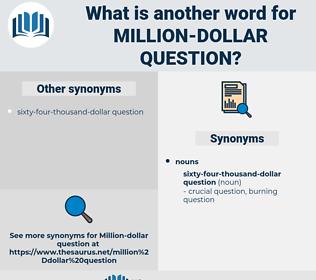 million dollar question, synonym million dollar question, another word for million dollar question, words like million dollar question, thesaurus million dollar question