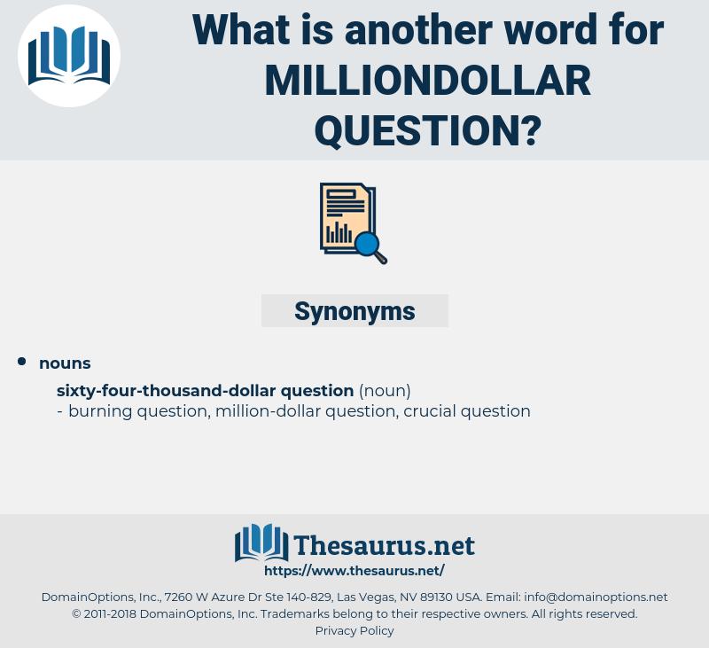 milliondollar question, synonym milliondollar question, another word for milliondollar question, words like milliondollar question, thesaurus milliondollar question