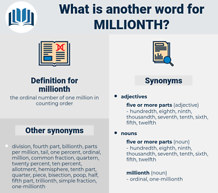 millionth, synonym millionth, another word for millionth, words like millionth, thesaurus millionth