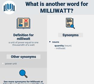 milliwatt, synonym milliwatt, another word for milliwatt, words like milliwatt, thesaurus milliwatt