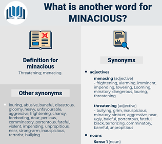 minacious, synonym minacious, another word for minacious, words like minacious, thesaurus minacious