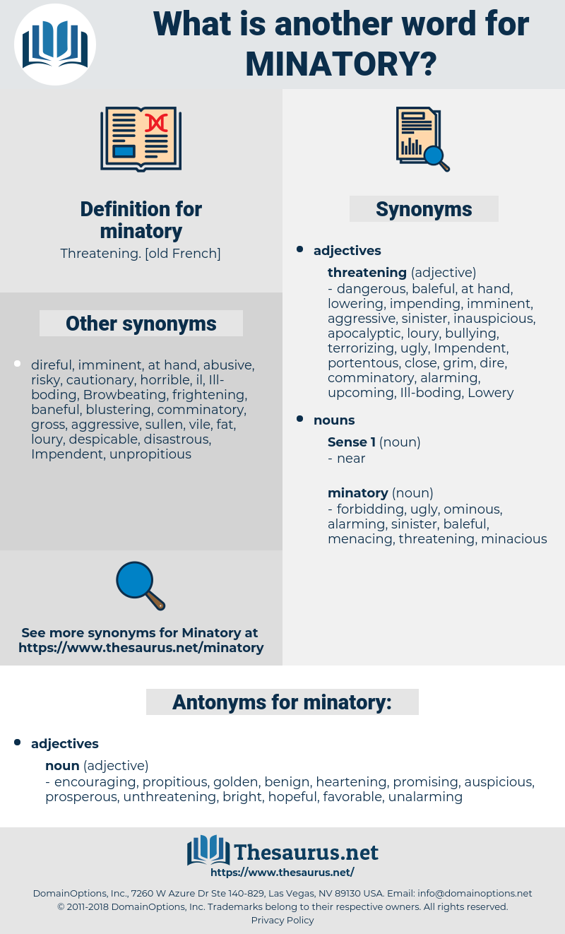 minatory, synonym minatory, another word for minatory, words like minatory, thesaurus minatory