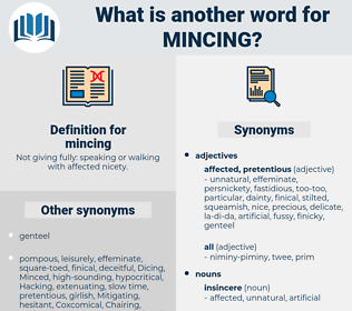 mincing, synonym mincing, another word for mincing, words like mincing, thesaurus mincing