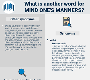mind one's manners, synonym mind one's manners, another word for mind one's manners, words like mind one's manners, thesaurus mind one's manners