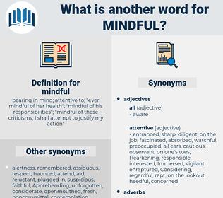 mindful, synonym mindful, another word for mindful, words like mindful, thesaurus mindful