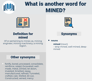 mined, synonym mined, another word for mined, words like mined, thesaurus mined