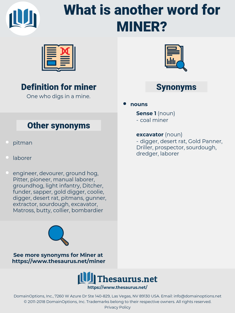 miner, synonym miner, another word for miner, words like miner, thesaurus miner