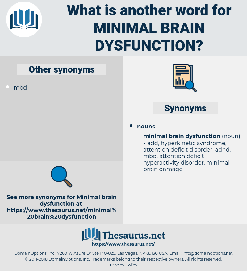 minimal brain dysfunction, synonym minimal brain dysfunction, another word for minimal brain dysfunction, words like minimal brain dysfunction, thesaurus minimal brain dysfunction