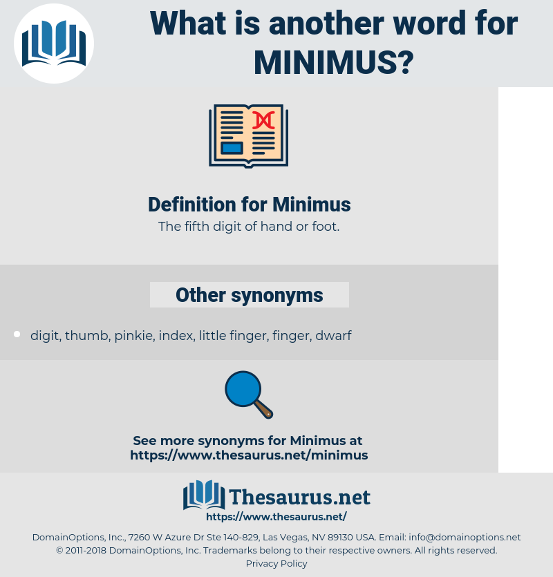 Minimus, synonym Minimus, another word for Minimus, words like Minimus, thesaurus Minimus