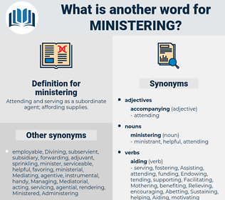 ministering, synonym ministering, another word for ministering, words like ministering, thesaurus ministering