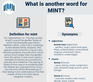mint, synonym mint, another word for mint, words like mint, thesaurus mint