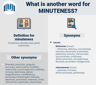 minuteness, synonym minuteness, another word for minuteness, words like minuteness, thesaurus minuteness