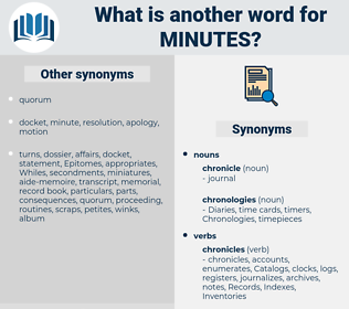 minutes, synonym minutes, another word for minutes, words like minutes, thesaurus minutes