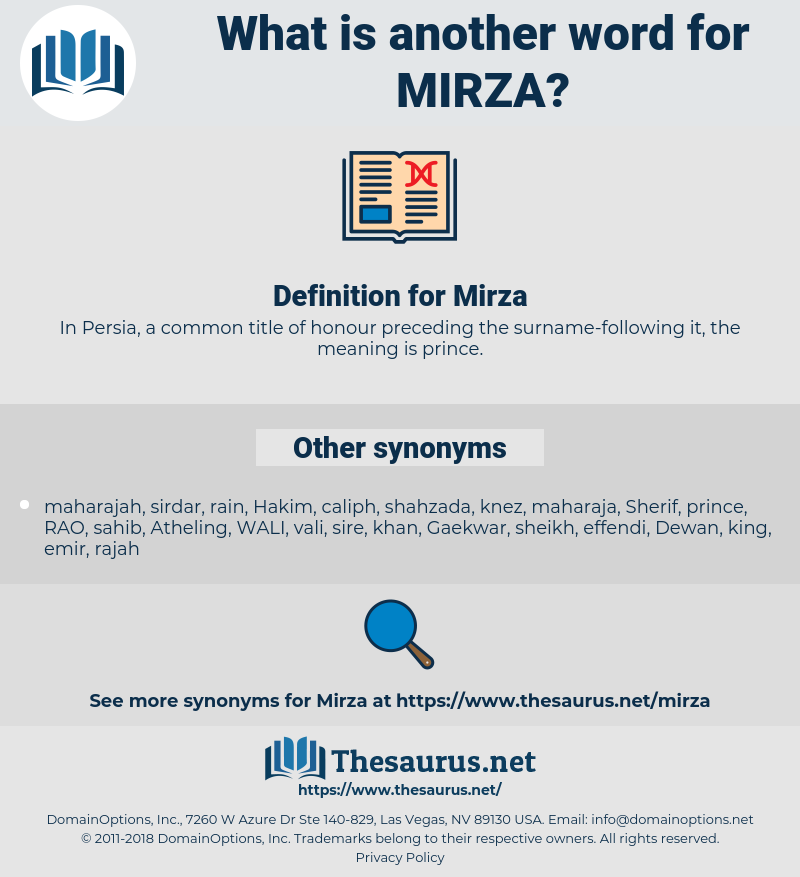Synonyms for MIRZA - Thesaurus net