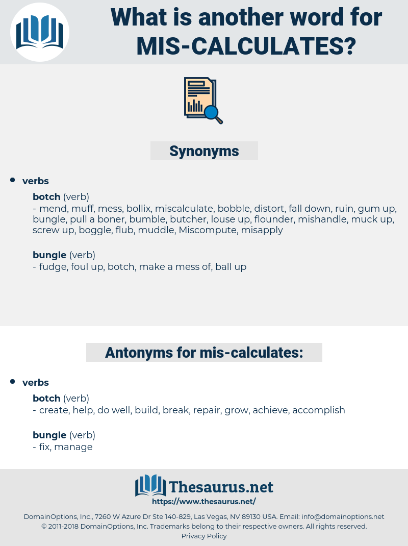 mis-calculates, synonym mis-calculates, another word for mis-calculates, words like mis-calculates, thesaurus mis-calculates