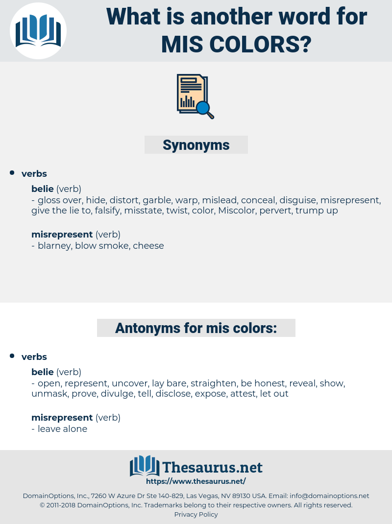 mis-colors, synonym mis-colors, another word for mis-colors, words like mis-colors, thesaurus mis-colors
