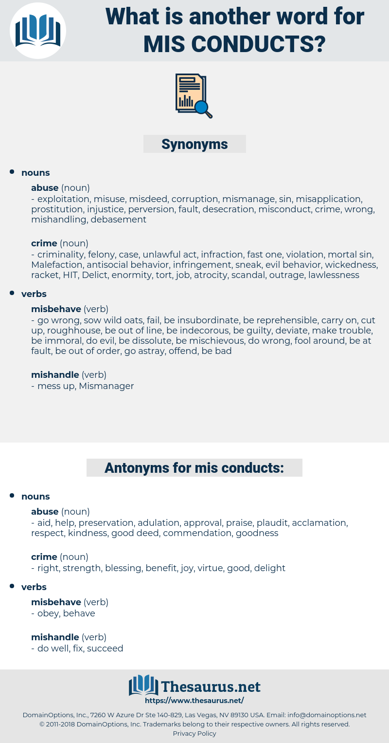 mis conducts, synonym mis conducts, another word for mis conducts, words like mis conducts, thesaurus mis conducts