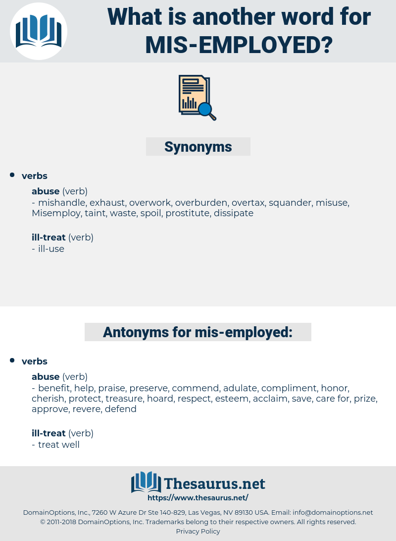 mis employed, synonym mis employed, another word for mis employed, words like mis employed, thesaurus mis employed