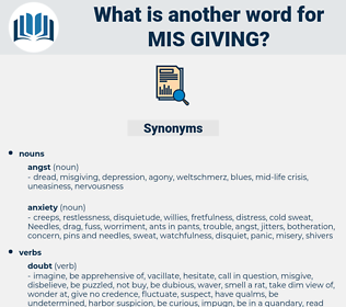 mis giving, synonym mis giving, another word for mis giving, words like mis giving, thesaurus mis giving