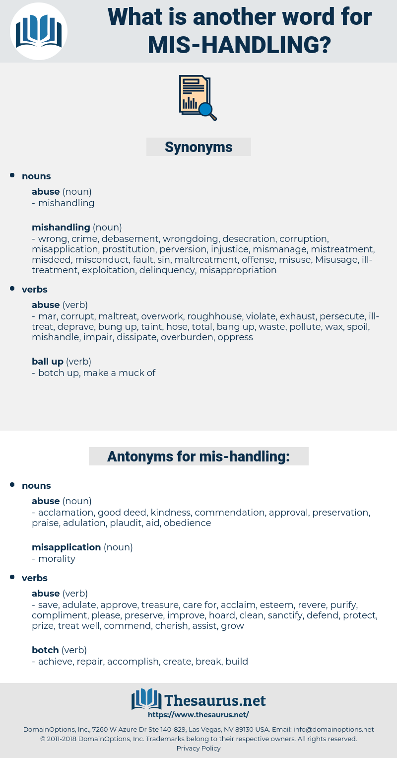mis handling, synonym mis handling, another word for mis handling, words like mis handling, thesaurus mis handling