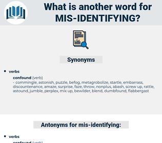 mis-identifying, synonym mis-identifying, another word for mis-identifying, words like mis-identifying, thesaurus mis-identifying