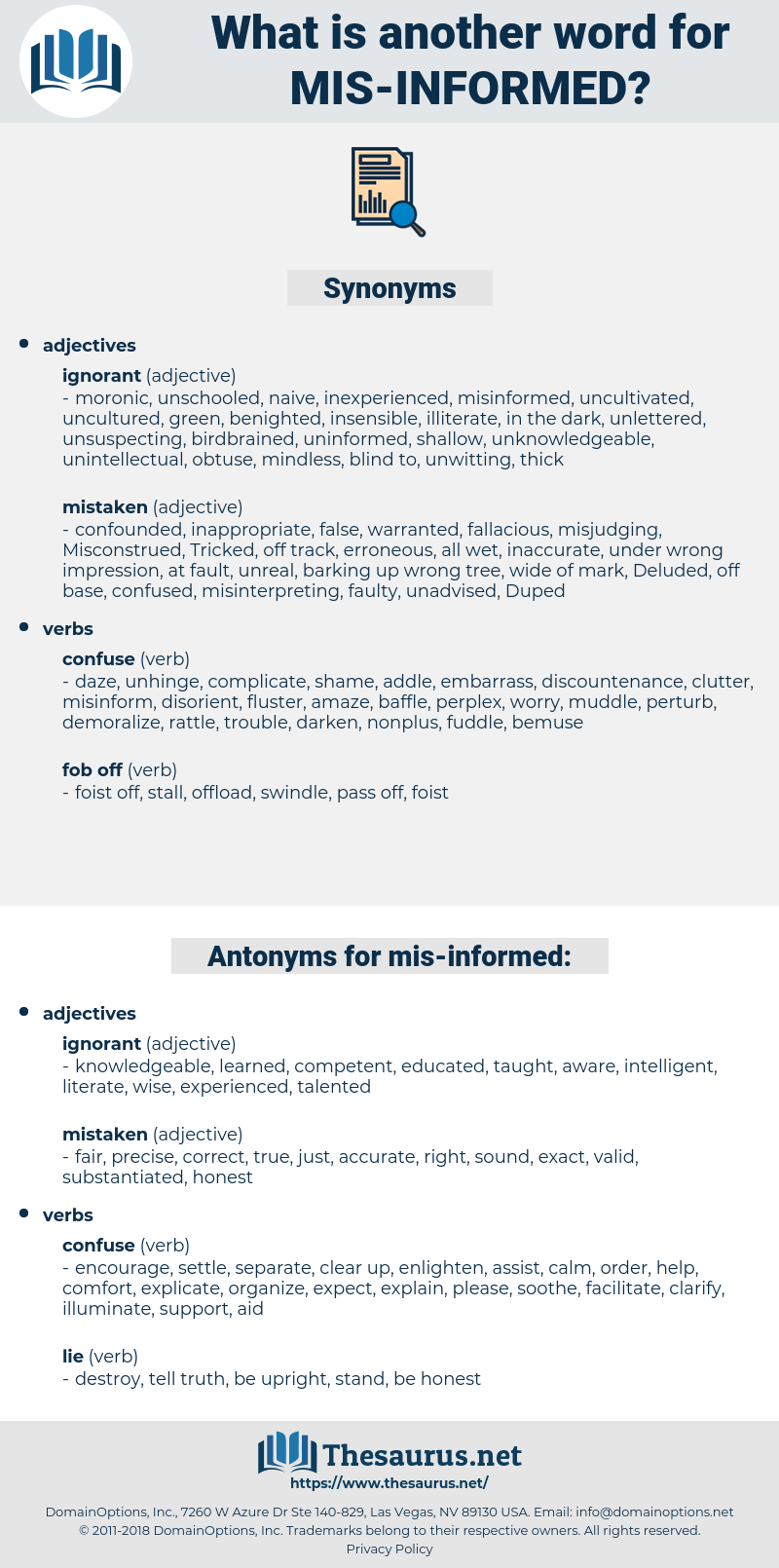 mis informed, synonym mis informed, another word for mis informed, words like mis informed, thesaurus mis informed