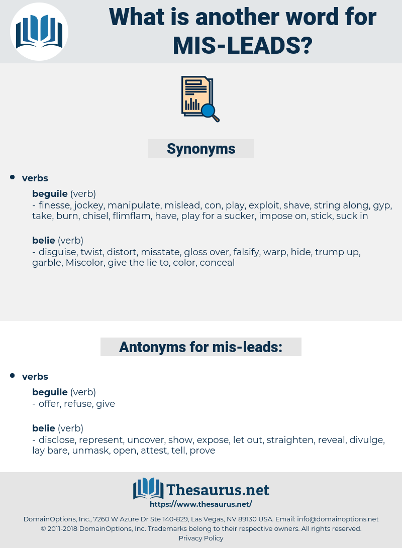 mis-leads, synonym mis-leads, another word for mis-leads, words like mis-leads, thesaurus mis-leads