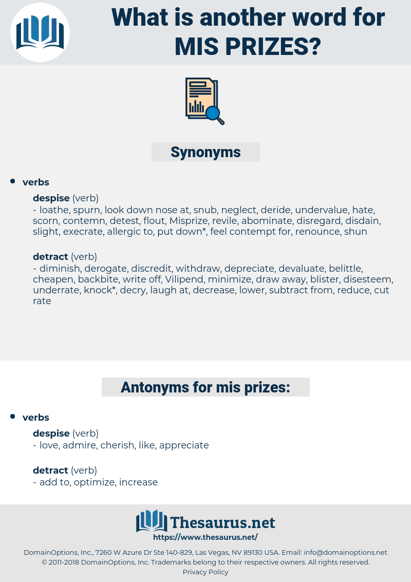 mis-prizes, synonym mis-prizes, another word for mis-prizes, words like mis-prizes, thesaurus mis-prizes