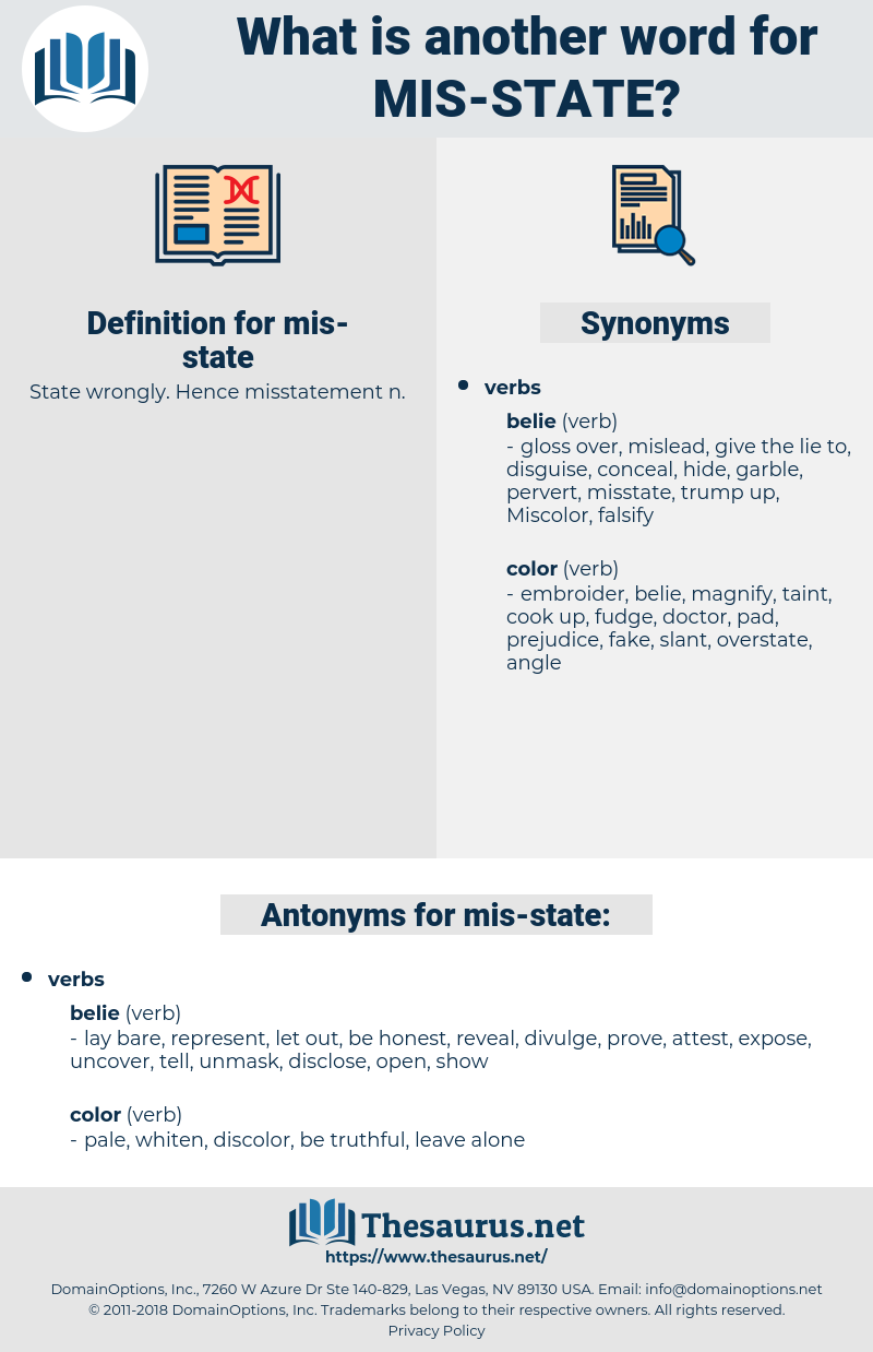 mis state, synonym mis state, another word for mis state, words like mis state, thesaurus mis state