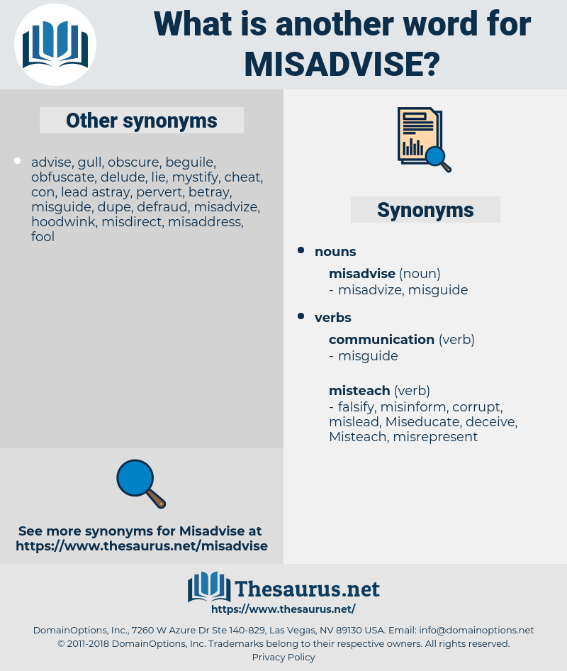 misadvise, synonym misadvise, another word for misadvise, words like misadvise, thesaurus misadvise
