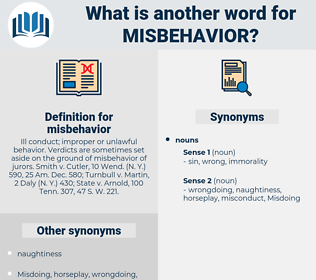 misbehavior, synonym misbehavior, another word for misbehavior, words like misbehavior, thesaurus misbehavior