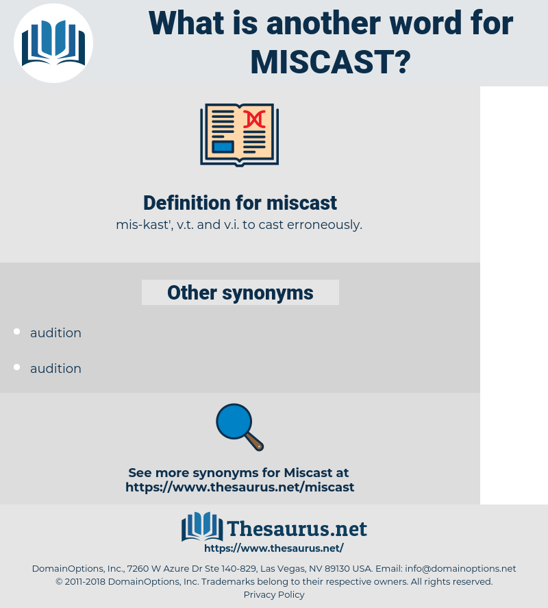 miscast, synonym miscast, another word for miscast, words like miscast, thesaurus miscast