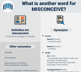 misconceive, synonym misconceive, another word for misconceive, words like misconceive, thesaurus misconceive