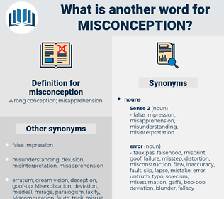misconception, synonym misconception, another word for misconception, words like misconception, thesaurus misconception