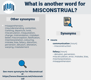 misconstrual, synonym misconstrual, another word for misconstrual, words like misconstrual, thesaurus misconstrual