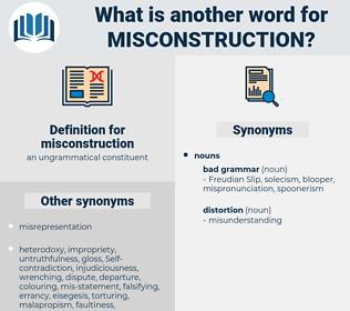 misconstruction, synonym misconstruction, another word for misconstruction, words like misconstruction, thesaurus misconstruction
