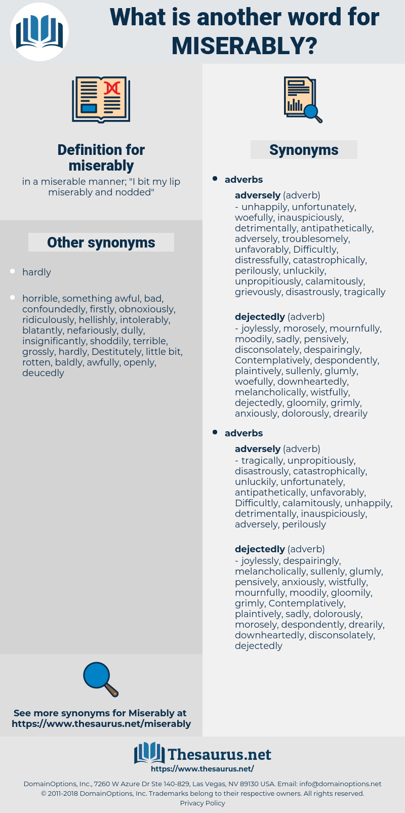 miserably, synonym miserably, another word for miserably, words like miserably, thesaurus miserably