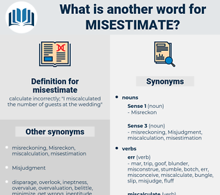 misestimate, synonym misestimate, another word for misestimate, words like misestimate, thesaurus misestimate