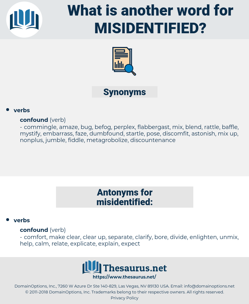 misidentified, synonym misidentified, another word for misidentified, words like misidentified, thesaurus misidentified