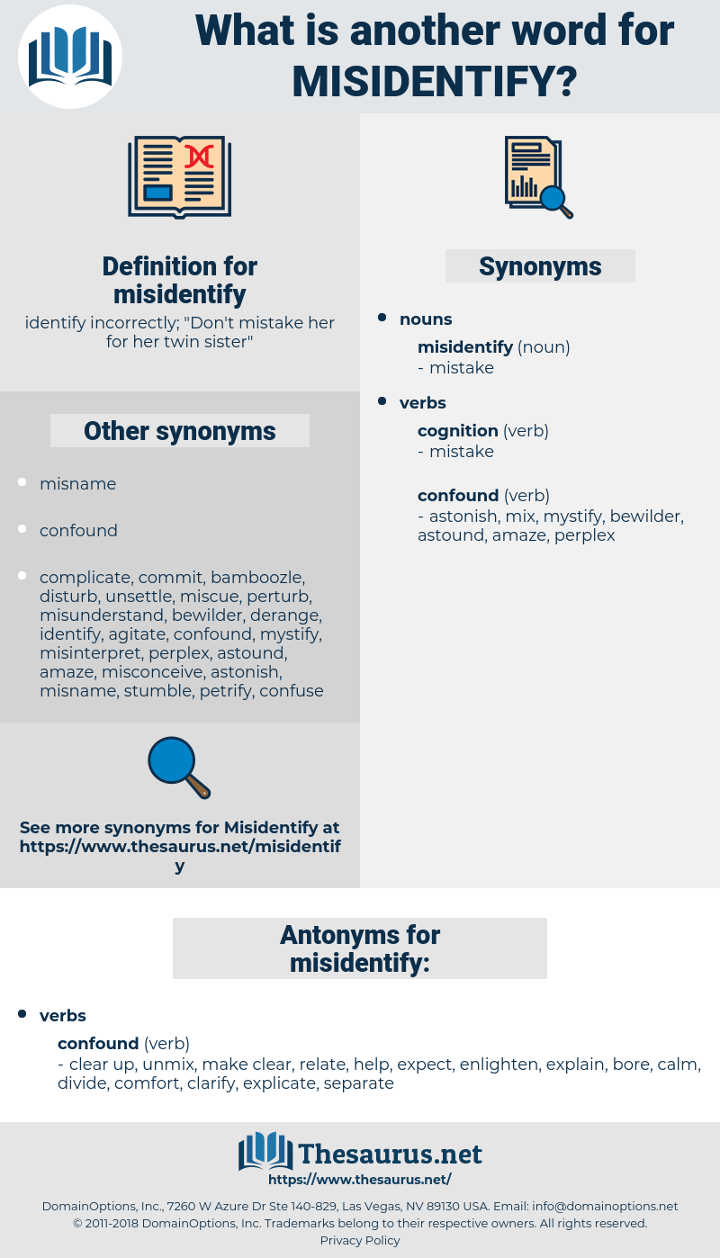 misidentify, synonym misidentify, another word for misidentify, words like misidentify, thesaurus misidentify
