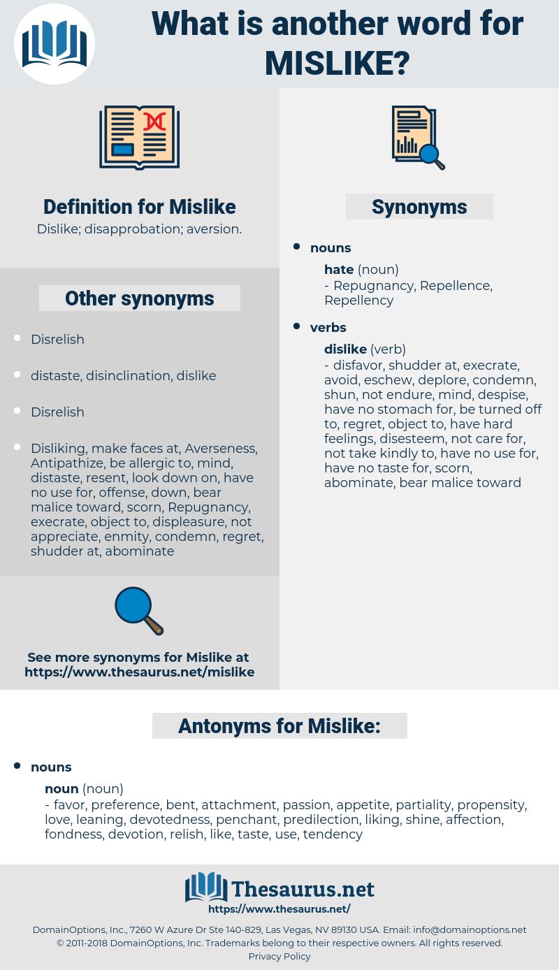 Mislike, synonym Mislike, another word for Mislike, words like Mislike, thesaurus Mislike
