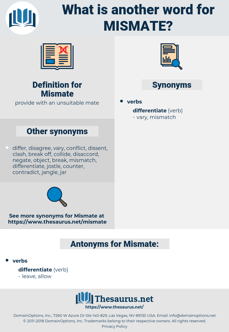 Mismate, synonym Mismate, another word for Mismate, words like Mismate, thesaurus Mismate
