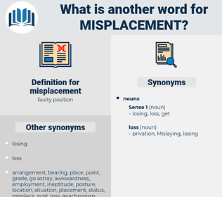 misplacement, synonym misplacement, another word for misplacement, words like misplacement, thesaurus misplacement