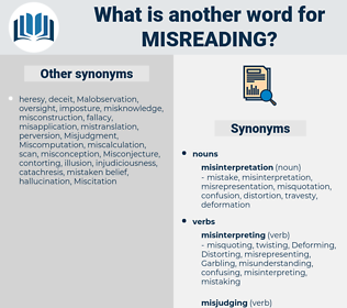 misreading, synonym misreading, another word for misreading, words like misreading, thesaurus misreading