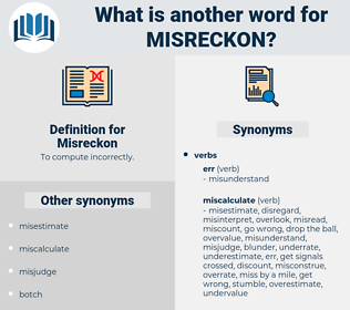 Misreckon, synonym Misreckon, another word for Misreckon, words like Misreckon, thesaurus Misreckon
