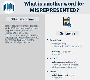 misrepresented, synonym misrepresented, another word for misrepresented, words like misrepresented, thesaurus misrepresented