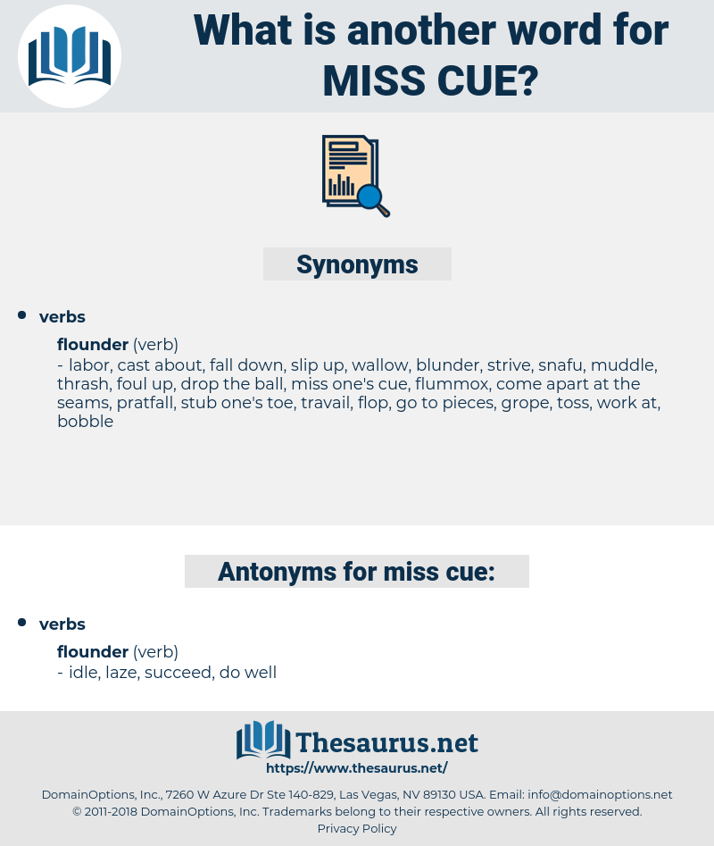 miss cue, synonym miss cue, another word for miss cue, words like miss cue, thesaurus miss cue
